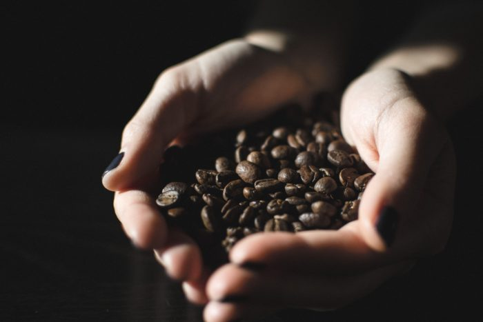 Coffee beans on hand