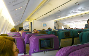 Inside the cabin of air plane