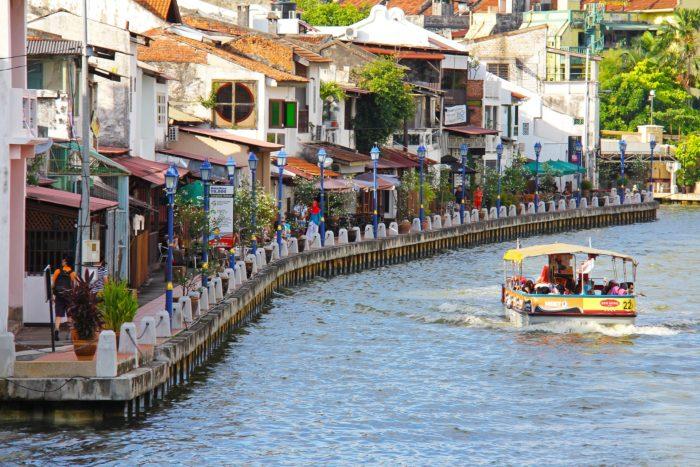 Shops by the river in Melaka